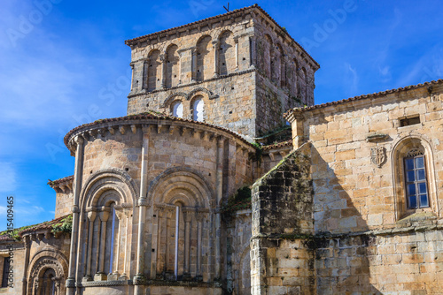 Photo View from Arenas Square on apse of Santa Juliana Church and monastery in Santill