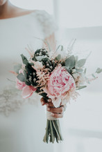 Crop Woman With Bridal Bouquet