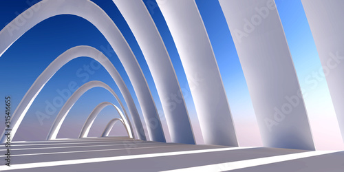 Fototapeta Abstract architecture background arched interior minimalism style 3d illustration obraz na płótnie