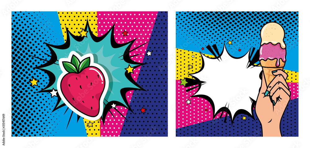set of hand with ice cream and strawberry pop art style icon vector illustration design <span>plik: #315417649 | autor: Gstudio</span>