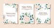 set of wedding invitation cards with flowers decoration vector illustration design