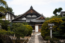 Japan, Kyoto Prefecture, Kyoto City, Japanese Garden Of Buddhist Temple