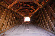 Inside A Covered Bridge, Old Wooden Timbers