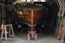 Wooden Boat In A Boathouse