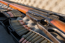 Close Up Of A Vinchester Rifle...