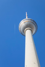 Germany, Berlin, Low Angle View Of?Berlin TV Tower Standing Against Clear Blue Sky