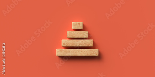 blocks formed as a pyramid on colorful background symbolizing a hierarchy Fototapeta
