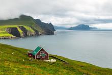 Lighthouse Keeper's House On The Mykines Island, Faroe Islands, Denmark. Landscape Photography