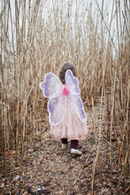 Back View Of Little Girl In Nature Dressed Up As A Butterfly