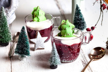Cups Of Red Porridge With Gree...