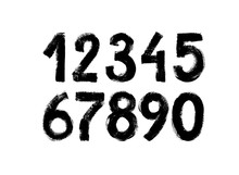 Black Grunge Numbers Vector Collection. Grunge Dirty Painted Numbers Set. Hand Drawn Ink Drawing.