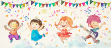 Kids Dance Party. Watercolor B...