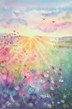 Watercolor Beautiful Rural Lan...