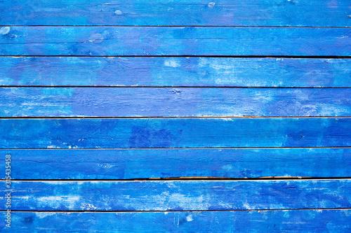 Photo Textura de pranchas de madeira pintadas de azul rústicas, envelhecidas e deterioradas na horizontal