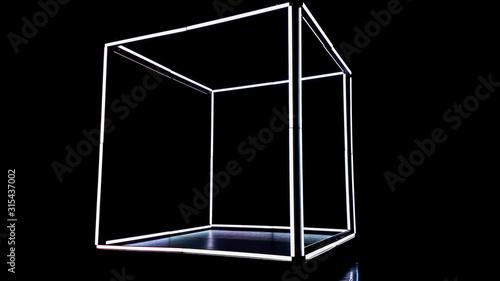 Estructura de cubo iluminado los lados led blancos con fondo negro Canvas Print