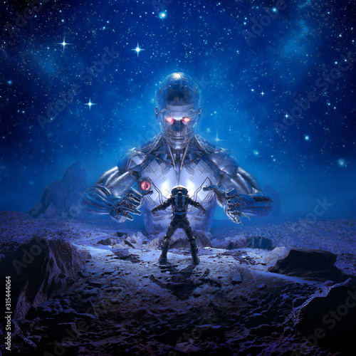 Fototapeta Sentinel of Titan / 3D illustration of retro science fiction scene showing astro