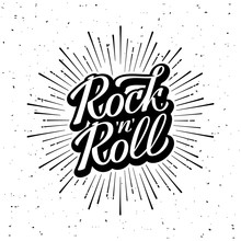 Rock And Roll Lettering White ...