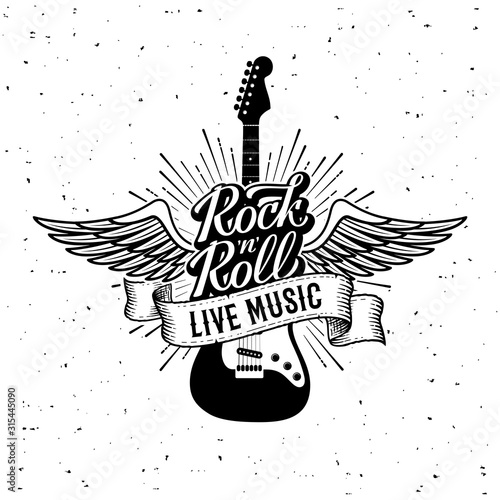 Rock and Roll Live Music Guitar Vector illustration Slika na platnu