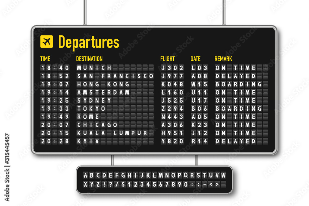 Fototapeta Departure and arrival board, airline scoreboard, mechanical split flap display. Flight information display system in airport. Airport style alphabet with numbers