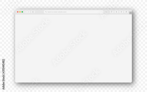Empty browser window on transparent background. Empty web page mockup with toolbar