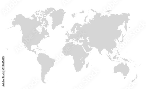 World map on white background. World map template with continents, North and South America, Europe and Asia, Africa and Australia