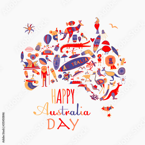 Photo Happy Australian Day. Greeting card design