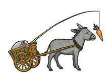 Donkey Chasing Carrot That Is Tied To Him And Drags Cart With Load Sketch Engraving Vector Illustration. T-shirt Apparel Print Design. Scratch Board Style Imitation. Black And White Hand Drawn Image.