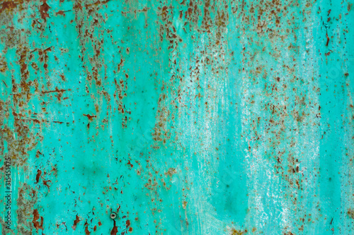 rusty metal texture and turquoise paint