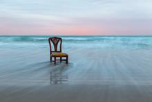 Old Chair On The Ocean Coast, ...