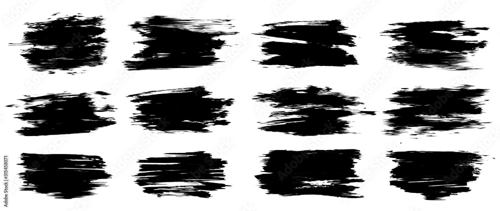 Fototapeta Set of thick brush strokes. High level of tracing. Uneven drawing strokes. Vector brush stroke set. Grunge texture set. Vector illustration