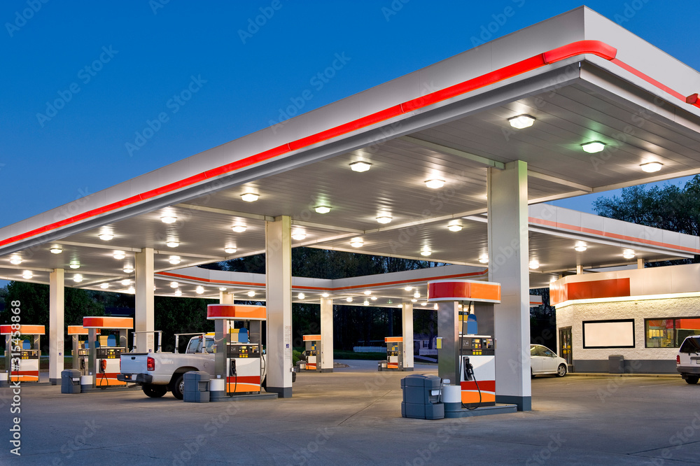 Fototapeta Retail Gasoline Station and Convenience Store REWORKED