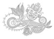 beautiful hand drawing paisley flower design