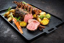 Barbecue Rack Of Lamb With Car...