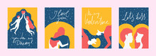 Set Vintage Couple In Love Simple Shape Style Poster With Hand Drawn Lettering For Valentines Day