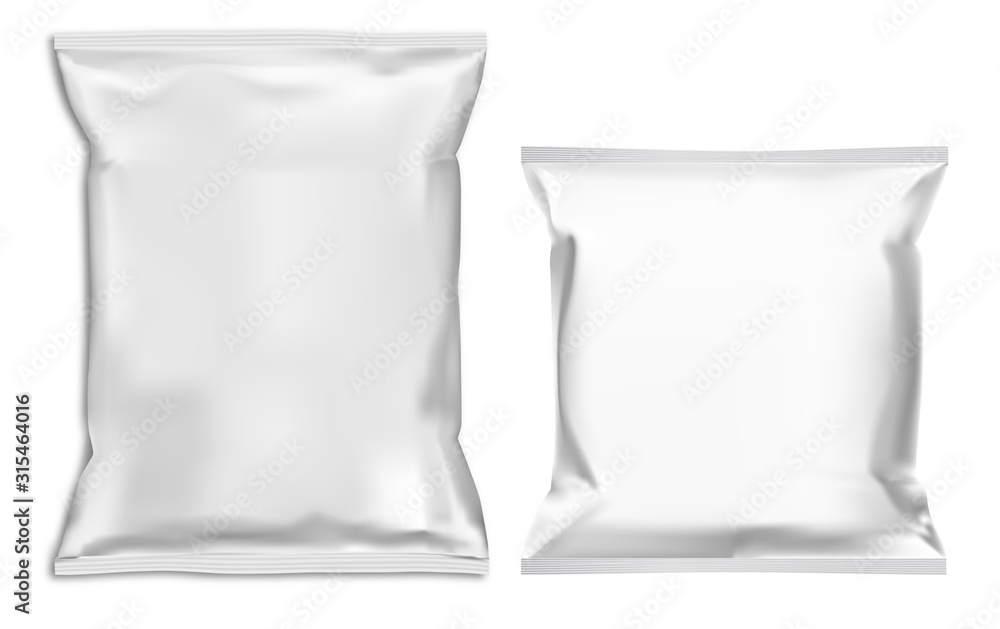 Fototapeta Food snack pillow bag mock up. White pouch blank vector template. Chocolate candy foil sachet. Chips product closed polymer container illustration for merchandise advertising. Ready soup paper box
