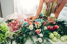 Florist Woman Creating Flower ...
