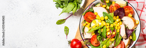 Fototapeta Salad with Chicken and vevetables on white. obraz