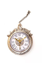 Vintage Pocket Watch Isolated On A White Background