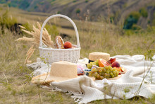 Stylish Summer Picnic On A Whi...
