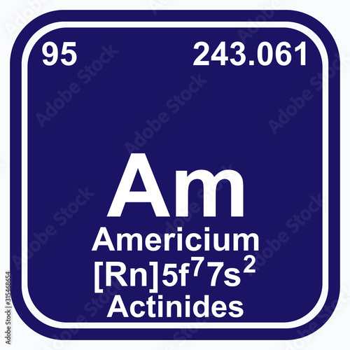 Americium Periodic Table of the Elements Vector illustration eps 10 Wallpaper Mural