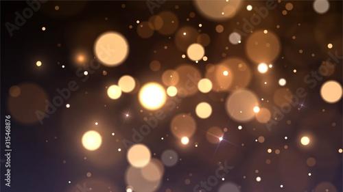 Fototapeta Vector background with golden bokeh dust, blur effect, sparks obraz
