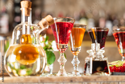 Photo Different Bitters And Liqueurs in the bar