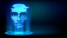 Blue Luminous Hologram With A ...
