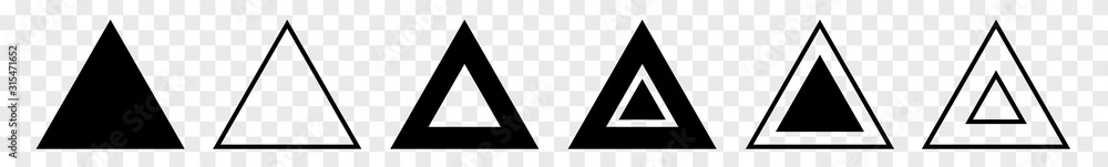 Fototapeta Triangle Icon Black | Label Triangles | Frame Logo | Emblem | Traffic Sign | Road Symbol | Isolated | Transparent Variations