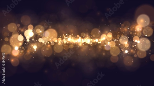Obraz Abstract background with golden blurred dust, space view of golden stars - fototapety do salonu