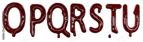 Creepy letters made from red fresh blood Fototapet