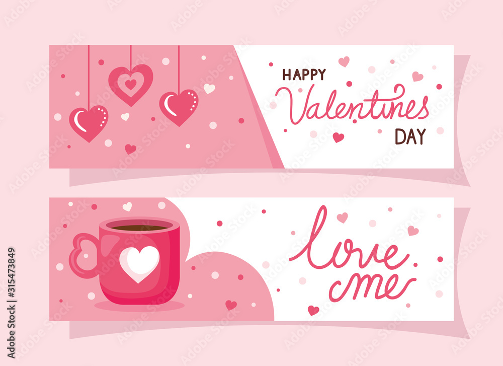 Fototapeta set of happy valentines day cards vector illustration design