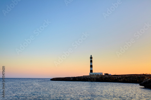 Cap d'Artrutx Lighthouse, located in the extreme south-western point of the isla Canvas Print