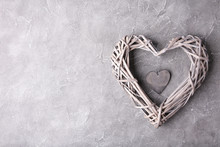 Rustic Wooden Heart On Grey Background, Top View