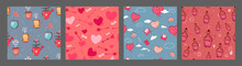 Set Of Vector Seamless Patterns With Hand Drawn Hearts Air Balloons, Bottleб Love, Flowers. Abstract Background. Design Concept For Valentine Day, Fabric Design, Textile Print, Wrapping Paper